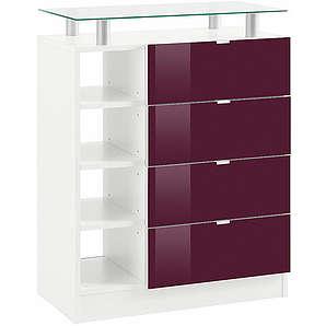 Borchardt Möbel Kommode Dolly Breite 67 cm mit Glasablage BORCHARDT MÖBEL weiß