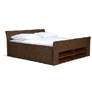 massivum Bett Erato 180x200cm Rattan braun lackiert