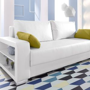 INOSIGN Schlafsofa mit Regalarmlehne weiß, FSC®-zertifiziert