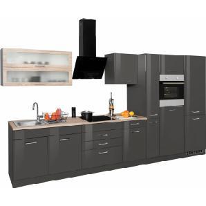 HELD MÖBEL Küchenzeile mit E-Geräten und großer Kühl-Gefrierkombination »Utah«, Breite 380 cm