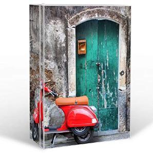 BANJADO Medizinschrank groß abschließbar / Arzneischrank 35x46x15cm / Medikamentenschrank aus Metall weiß mit Motiv Italienischer Roller