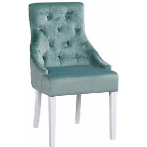 Stuhl Set in Grün Weiß Stoff Chesterfield (2er Set)