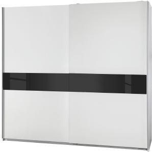 Schwebetürenschrank Nedlitz - Alpinweiß / Glas Schwarz - 167 cm (2-türig), Wimex