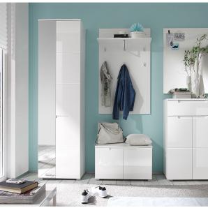 Garderobenset Larado (5-teilig) - Hochglanz Weiß / Weiß, Fredriks