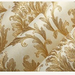 ZLYAYA Tapete,Wandtapete,Wand Dekoration,wandsticker,Europäische  Vliestapeten 3D Wallpaper Wohnzimmer Schlafzimmer TV Hintergrund Tapete  Wand Gold Geprägtem