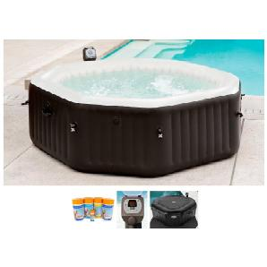 INTEX Set: Whirlpool »Pure Spa Octagon Bubble«, Ø/H: 218 / 71 cm