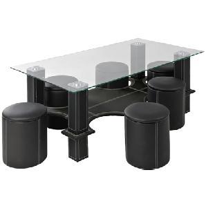 Couchtisch Glas/ Kunstleder schwarz | schwarz | 130 cm | 50 cm | 70 cm |