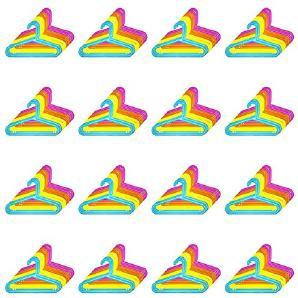 128er Set Kinder Kleiderbügel - Kunststoff, 33,5 x 20,5 cm (BxH), blau, gelb, orange und pink, mit Hosensteg und Einkerbung für Kleider und Träger