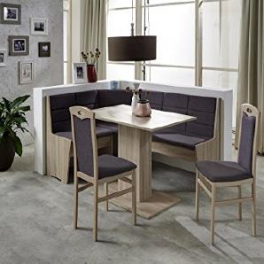 Dreams4Home Eckbankgruppe Sego Essgruppe 165 x 125 x 82 cm Tisch 2 Stühle modern Sonoma Eiche Eckbank Küchentisch 4-teilig Landhaus Küche