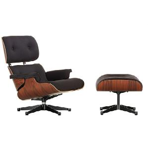 Vitra Lounge Chair XL und Ottoman Schwarz, Designer Charles & Ray Eames, 89x84x85-92 cm
