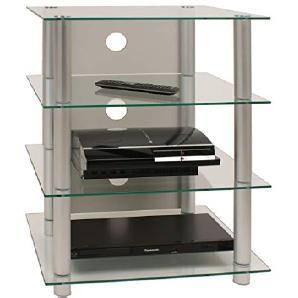 VCM Hifi Möbel Rack Phono Turm Medienrack Medienmöbel Regal Tisch Alu Glas Aluminium / Klarglas Blados