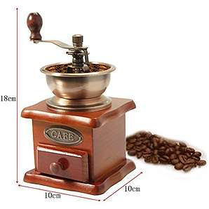 JJOnlineStore – Mini Compact Holz Coffee Bean Spice Speisewürze Classic Vintage Stil Manuelle Hand Mahlwerk Schublade