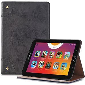 Galaxy Tab A 8.0 Hülle, TechCode Premium PU Leder Luxus Buchseite Stil Slim Fit Folio Smart Stand Schutzhülle für Samsung Galaxy Tab A 8.0 (SM-T350) -Schwarz