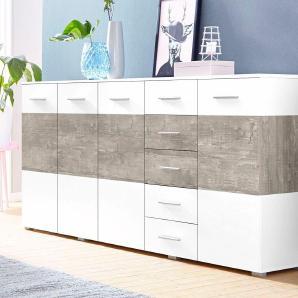 Sideboard, weiß, pflegeleichte Oberfläche, mit Schubkästen