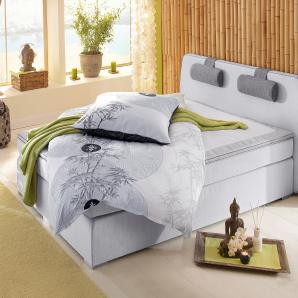 Atlantic Home Collection Boxspringbett, grau, 140/200 cm, inkl. Topper