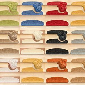 Kettelservice-Metzker® Stufenmatten, Treppen-Teppich Halifax Halbrund Anthrazit 30 Stück