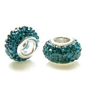 Perle Shamballa aus Kristallglas (Set 5Farbe Zirkonia Blau) Durchmesser: 14mm