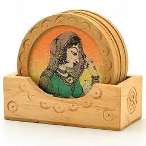 Little India Gemstone Painting Wooden Tea Coasters Set Brown by Little India
