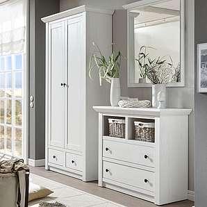 Home affaire 3-tlg. Garderobenset «California», weiß », Set aus: Kommode, Garderobenschrank und Spiegel«, FSC®-zertifiziert