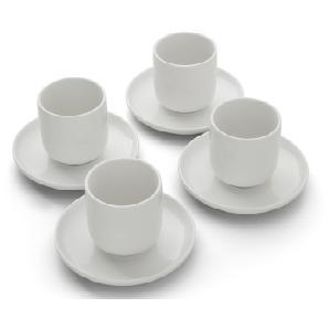 Leah 4 x Tassen mit Untertassen, Porzellan in Weiß