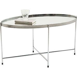 Couchtisch Miami Oval Silber 83x40cm