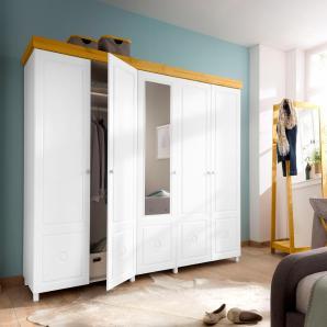 Home affaire Drehtürenschrank weiß, 5-türig: 236 cm, », als 2-, 3-, 4-, 5- oder 6-türig, teilweise mit Spiegel«, FSC®-zertifiziert