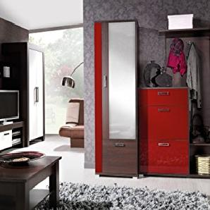 JUSTyou Fox Garderobenset Garderobe Garderobenschrank Eiche I | Rot Hochglanz