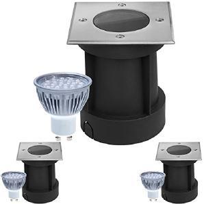 3er Set LED Bodeneinbaustrahler Set - dimmbar - mit dimmbaren LED GU10 Leuchtmitteln von LEDANDO 5W warmweiß - eckig- IP65 - Blende Edelstahl 316 belastbar 1t 50W Ersatz - 60° Abstrahlwinkel - A+ [Bodeneinbauleuchte Bodenleuchte Bodenlamp
