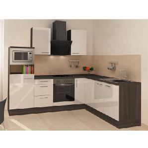 Respekta Premium Winkelküche RP260EWCMIS 260 cm Weiß-Eiche Grau Nachbildung