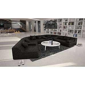 Rund-Sofa mit Bezug aus schwarzem Microfaser 410x272 cm halbrund | Catoca | Designer Wohnlandschaft im XXL Format Recamiere links | Couch-Garnitur für Wohnzimmer schwarz 410cm x 272cm