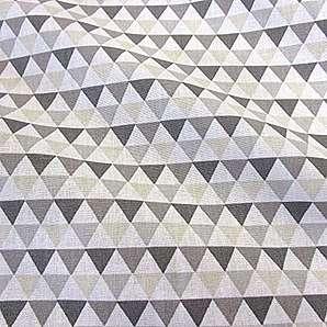Stoff Meterware Baumwolle Dreiecke grau weiß beige Grafik Dekostoff Kleiderstoff