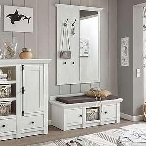 Home affaire 3-tlg. Garderoben-Set «California», weiß », Set aus: Sitzbank, Paneel mit Spiegel und Kommode«, FSC®-zertifiziert