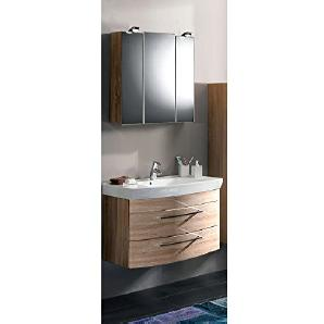 Badmöbel Set 2-teilig ● Sonoma Eiche ● Badezimmer Komplettset: Waschtisch mit Unterschrank ● Spiegelschrank mit LED-Beleuchtung ● Made in Germany