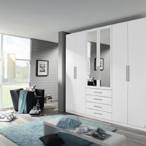 Drehtüren-Kombischrank 6-trg. in alpinweiß mit 2 Spiegeltüren, 4 Schubkästen, 6 Einlegeböden und 3 Kleiderstangen, Maße: B/H/T ca. 271/229/54 cm
