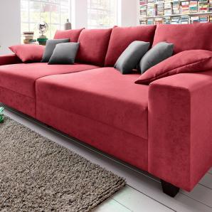 Big-Sofa rot, Ohne RGB-LED-Beleuchtung, inklusive loser Zier- und Rückenkissen, FSC®-zertifiziert,
