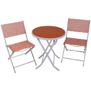 GREEMOTION Balkonset , 3-tlg., 2 Stühle, Tisch 60x60 cm, Stahl