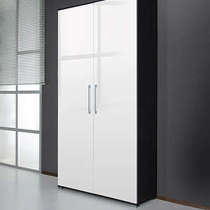 Schuhschrank 0122 - Dekor: Esche-Karbon-Optik / weiß