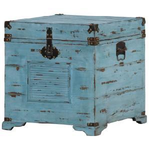 Truhe Chapalasee - Tanne massiv - Vintage blau, Red Living