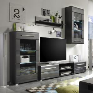 Wohnwand Grau Metallic Hochglanz Mit Beleuchtung Hbz-Meble Chrome 1 Folie Modern