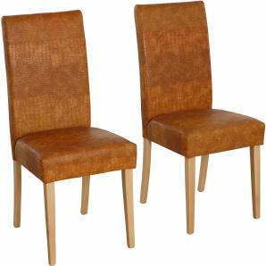 Home affaire Stuhl-Sets bezogen mit Kunstleder in Kroko Optik braun, 2er Set, »Rubin«, FSC®-zertifiziert