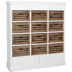 BUTLERS CAMPAGNE Regal mit 14 Schubladen - Holzregal mit Schubboxen - Stauraum - Landhausstil Vintage-Look - Paulownia-Holz