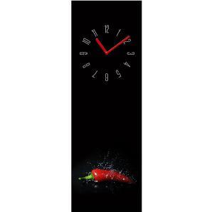 Wanduhr Fresh Red Pepper - Glas - Schwarz / Rot, Pro Art