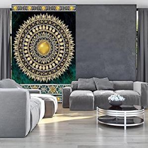 FORWALL Fototapete Tapete Golden Mandala In Smaragd P4A (254cm. X 184cm.)  Photo Wallpaper Mural AMF10121P4A Mandala Indien Indisch Orient  Orientalisch Gold