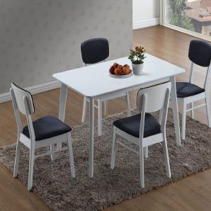 Esstisch-Set Bambari A19 inkl. 4 Stühle (schwarz / weiß) - 120 x 75 (L x B)