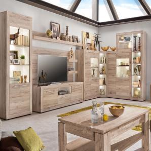 Wohnwand Sandeiche/ Weiss Trendteam Passat Holz Modern