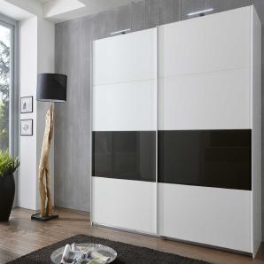 Schwebetürenschrank in alpinweiß mit Absetzungen in Glas schwarz, mit 2 Einlegeböden und 2 Kleiderstangen, Maße: B/H/T ca. 225/210/65 cm