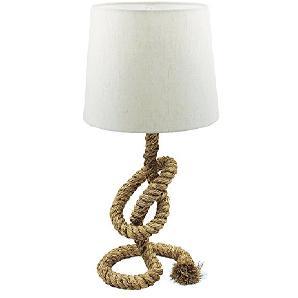 Lampe Tobago auf schwerem Tau Stoffschirm H 58 cm