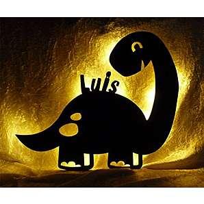 Schlummerlicht24 Led Lampe Deko Kinder Wandlampe Dino mit Name personalisiert Geschenke für Dinosaurier Kinderzimmer Dinozimmer Jungen Mädchen