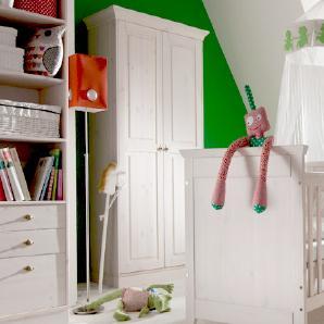 Kinderzimmer Kleiderschrank Babys Paradise - weiß mit Holzstruktur