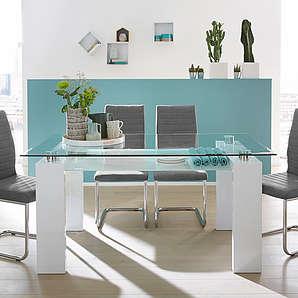 Esstisch mit oberer Tischplatte aus Klarglas mit Facettenschliff, unterer Tischplatte aus gefrostetem Glas und Gestell in Hochglanz Weiß, 160 x 90 cm
